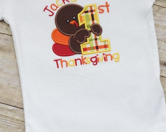 First Thanksgiving Turkey Personalized BODYSUIT - Monogram - Short or Long Sleeves - Baby Boy - Fall - Child