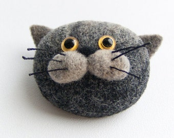 Cute Cat Brooch - Felt Jewelry - Handmade