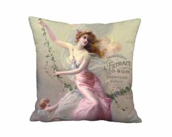Pillow Cover - Pillow - Savon Exquis Parfumerie- French Farmhouse Cottage - 16x 18x 20x 22x 24x 26x 28x Inch Linen Cotton Cushion Cover