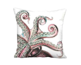 Pillow Cover - Pillow - Strawberry Pink Octopus 16x 18x 20x 22x 24x 26x 28x 30x 32x Inch Linen Seashore Pillow - Octopus Cushion Cover