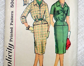 Vintage Pattern Simplicity 3089 dress sewing Full Skirt Jacket Wiggle Dress Peplum First Lady Suit Skirt 1950s Jackie Kennedy Bust 32 1959