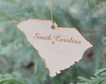 Natural Wood South Carolina State Ornament