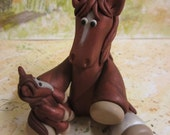 Chestnut Mama and Foal Sculpture!