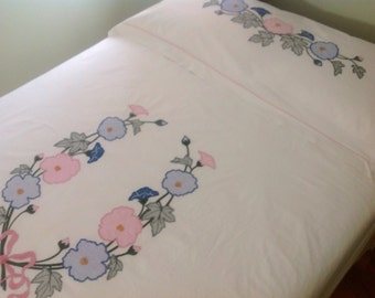 "Large Floral Vintage Summer Spread Summer Quilt and Pillow Topper in Old Fashion Rose Applique and Embroidery 84""x 84"""