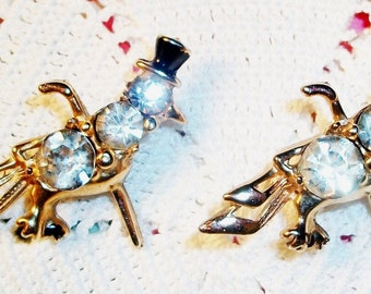 VINTAGE SCATTER PINS,  Anthropomorphic Pair of Rhinestone Jelly Belly Style Birds w/Top Hats & Canes, 3 Large Stones, Exc.Condition!