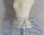 Blue color Crinoline hoop cage skirt pannier 4 rows elastic waist simple cage