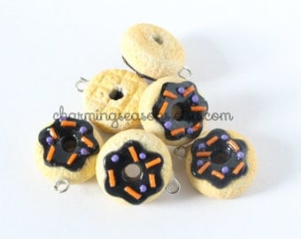Black Iced Donut Charm, Halloween Holiday Polyer Clay Doughnut Food Jewelry