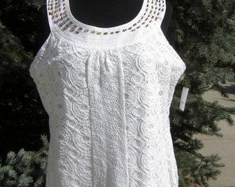White Cotton Lace Dress Sundress Hand Beaded Yoke by FashionPuss - XL with tags