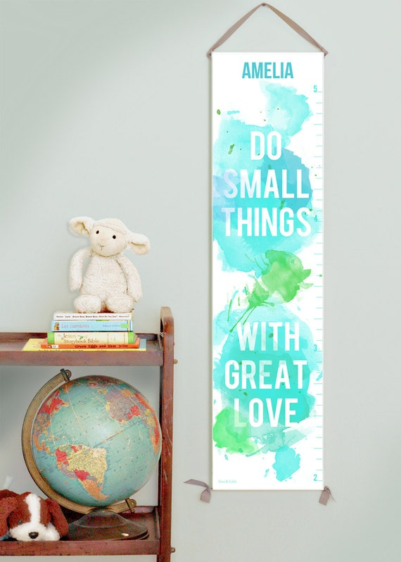Custom/ Personalized Do Small Things canvas growth chart in greens and blues