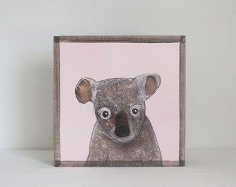 koala wall art- 5x5 art block- pink nursery decor- kids room decor- koala nursery- redtilestudio