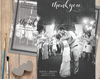 Rustic-Wedding-Thank-You-Card, Wedding Photo Thank You Cards - Carolina