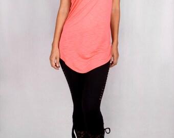 Drop Tunic in Rayon Jersey Slub CORAL - Dance wear, Yoga wear