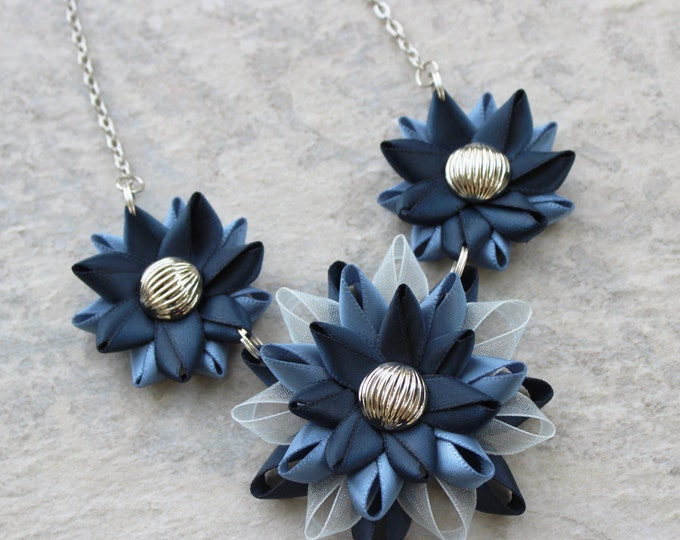 Blue Necklace, Peacock Blue Jewelry, Antique Blue Statement Necklace, Peacock Blue Wedding, Blue Bridesmaid Necklaces, Blue and Silver