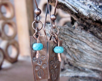 Handcrafted Artisan Copper Turquoise Gemstone Earrings