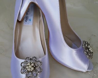 Wedding Shoes Crystal Bridal Shoes Pick your Color - White bridal shoes - Ivory Wedding Shoes - Dyeable Wedding Shoes