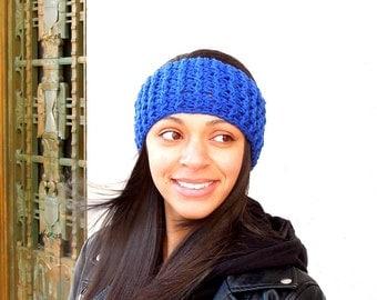 Crochet Headband, Ear Warmer, Ribbed Style, Royal Blue, Women,Teen, Ready To Ship,