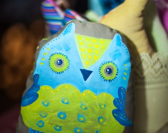 Josefa  Owl , soft art  creature  toy by  Wassupbrothers, stuffed colorful textile nursery decor, painted softie, unique