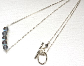Matte finished Moonstone and silver chain Necklace - Anniversary, Birthday, Graduation - fast shipping