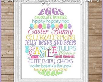 EASTER Egg Subway Art -  Printable INSTANT Download