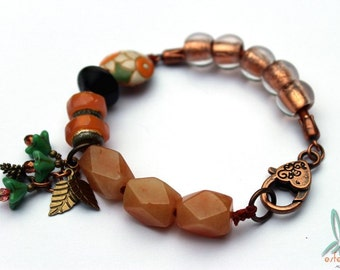 Sparkling rocks - mixed media bracelet with artisan glass and ceramic beads, red aventurine, Czech glass wood and leather