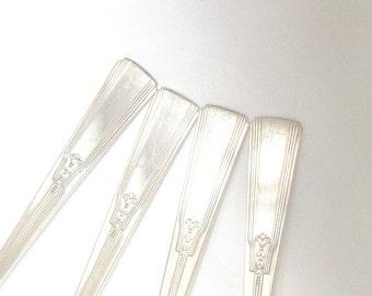 4 Revelation Silver Gumbo Spoons 1938 /