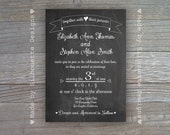 Chalkboard Wedding Invitation, Engagement Party, Vintage Baby Shower Invitation-Digital Printable File OR Professionally Printed Cards
