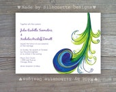 Modern Wedding, Birthday Party, Bridal Shower Invitation-Peacock Feather Plume-Digital Printable File OR Professionally Printed Cards
