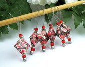 Knitting Stitch Markers, Howlite Semi-Precious Stones, Large Size, Snag Free, Red White, Jeweled Tool, Knitting Accessory, Handmade, Gift