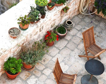 Dubrovnik Photography - Rooftop Garden Patio Photo - Croatia Photography - Mediterranean Decor Flower Pots Chairs European Wall Art