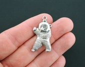 6 Bear Charms Antique Silver Tone Fighting Grizzly Bear - SC2574