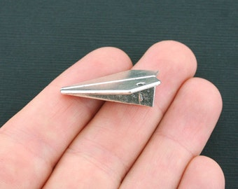 4 Paper Airplane Charms Antique Silver Tone 3D Large Size- SC4458