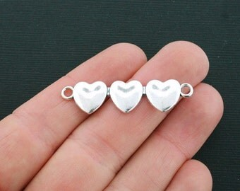 4 Heart Connector Charms Antique Silver Tone Triple Hearts - SC4491