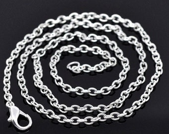 """12 Silver Plated Necklace Chains 30"""" with Lobster Claw Clasps Great Quality N069"""