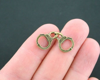 8 Handcuffs Charms Antique Bronze Tone 2 Sided - BC1333