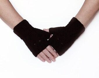 Black Merino Wool Fingerless Owl Mittens Gloves