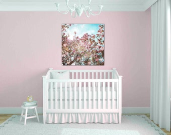 pink magnolia print - flower photography - floral wall art - pastel pink nursery art