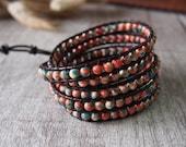 5 Wraps Beaded Wrap Bracelet Rain Flower Stone Bracelet  Leather Bracelet Leather Wrap Bracelet Beaded Bracelet 10658