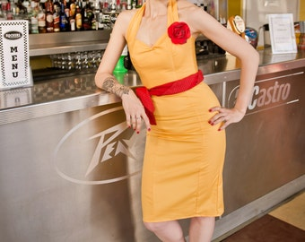 Yellow Fitted Wiggle Dress