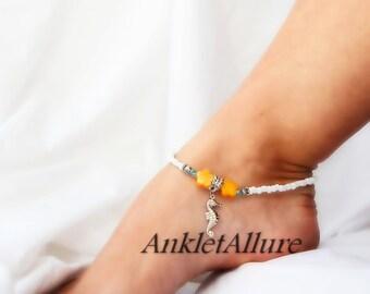 Beachy Feet Seahorse Ankle Lemon Yellow Hibiscus Flower Anklet Silver Anklet Bracelet