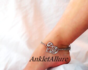 UNChain My Heart Anklet Silver Anklet Bracelet Beach Wedding Body Jewelry Foot Jewelry
