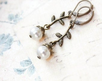 Small Dangle Earrings Ivory White Pearl Earrings Tiny Branch Twig Earrings Leaf Nature Jewelry Bead Drop Forest Leverback Woodland Wedding