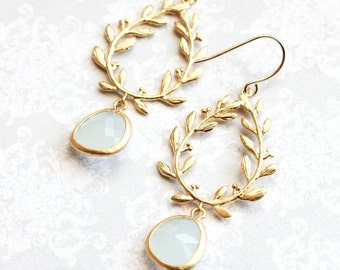 Alice Blue Glass Earrings Gold Bridal Jewelry Leaf Branch Dangle Earrings Bridesmaids Gift Laurel Wreath Chandelier Earring Light Blue Drop