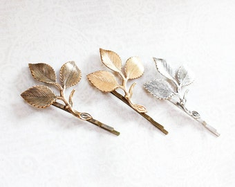 Branch Bobby Pins Rose Leaf Hair Pin Antiqued Gold Leaf Bobbies Rustic Nature Woodland Wedding Silver Leaves Hair Grips Bridesmaids Gift
