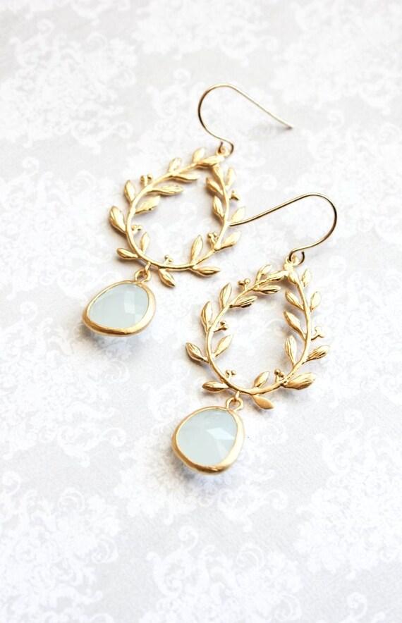 Alice Blue Glass Earrings Gold Bridal Jewelry Leaf Branch