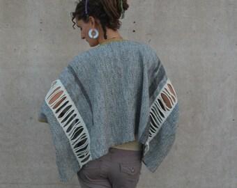 Soft Armor -  Handwoven Alpaca & Merino Sculptural Cloak - Wearable Art Coat