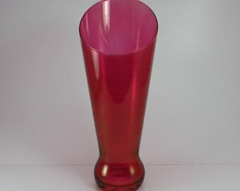 Vintage Cranberry Glass Vase Flared Large