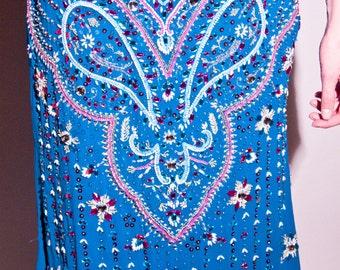 Hand Made Vintage Heavy Beaded Sequin Silk  Indian Skirt