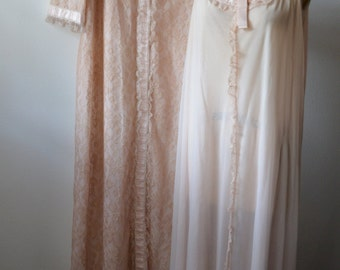 Vintage Peignoir Set 1960s Odette Barsa Robe and Gown Pink Nylon with Tan Lace Very Girly Ruffles and Satin Ribbons Size Medium to Large