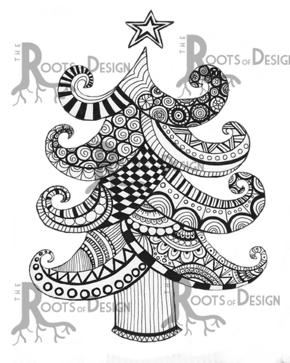 zentangle coloring pages trees