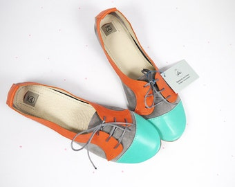The Sofia Oxfords in Block Colors - Cute Handmade Leather Oxford Shoes